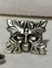 Green Man Pewter Cuff Links
